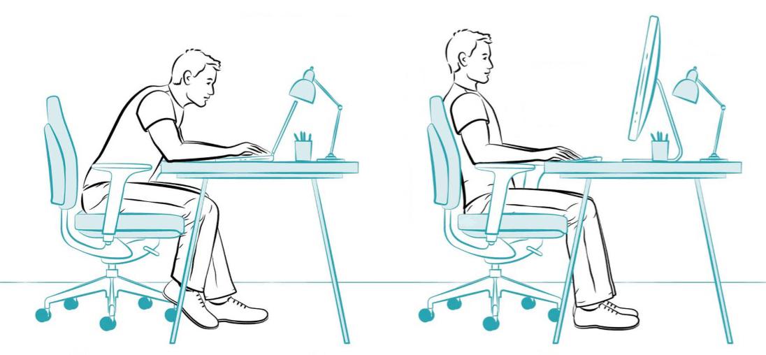 Apoiar ou não os braços na cadeira para digitar?